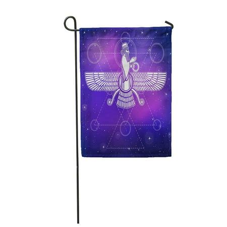Assyrian Flag (LADDKE Ancient Assyrian Winged Deity Character of Sumerian Mythology Esoteric Symbol Garden Flag Decorative Flag House Banner 12x18)