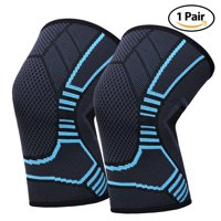 Knee Compression Sleeve Brace for Men Women, Ideal for Basketball Running Football Volleyball Baseball Sports, Latex-free, 1 Pair (S, Blue)