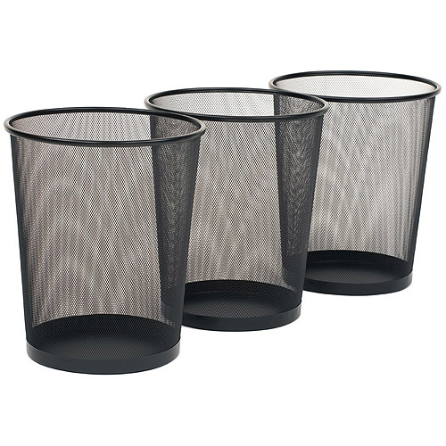 Seville Classics 3-Pack Mesh Wastebaskets, 6 Gallon, Black, OFF16010