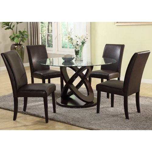 Walmart Dining Room Furniture: Roundhill Furniture Cicicol 5 Piece Round Faux Leather