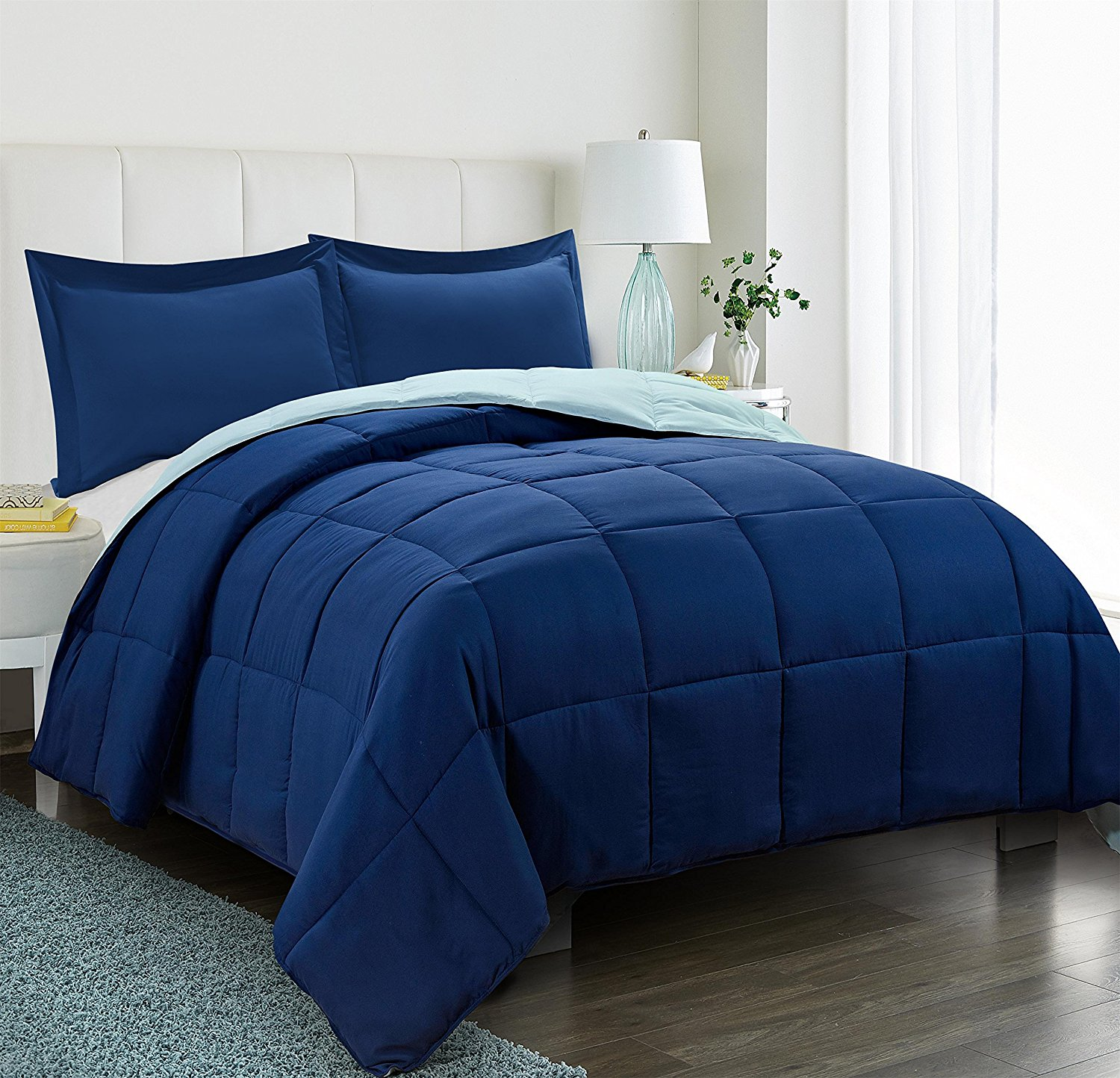 All Season Down Alternative Comforter Set 2pc Box Stitched Reversible Comforter With One Sham Quilted Duvet Insert With Corner Tabs Hypoallergenic Supersoft Wrinkle Resistant Navy Twin Size Walmart Com Walmart Com