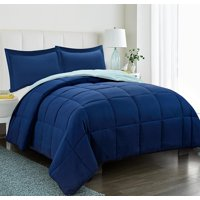 All Season Down Alternative Comforter Set- 2pc Box Stitched Reversible Comforter with One Sham -Quilted Duvet Insert with Corner Tabs - Hypoallergenic, Supersoft, Wrinkle Resistant - Navy Twin Size