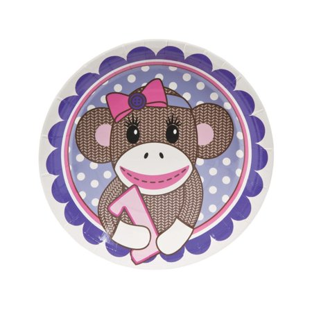 1st Birthday Miss Sock Monkey Dinner Plates ()