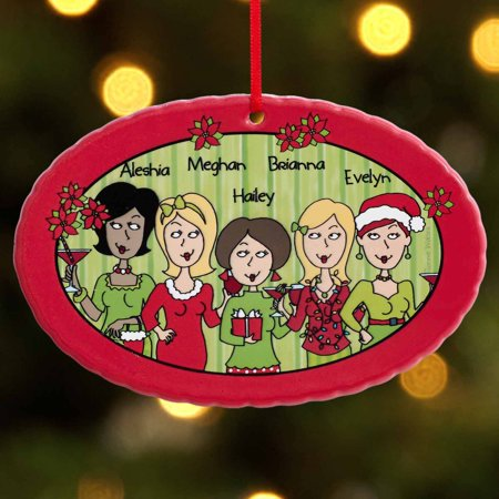 Personalized 'Tis The Season with The Girls Oval Christmas (Girl Personalized Ornament)