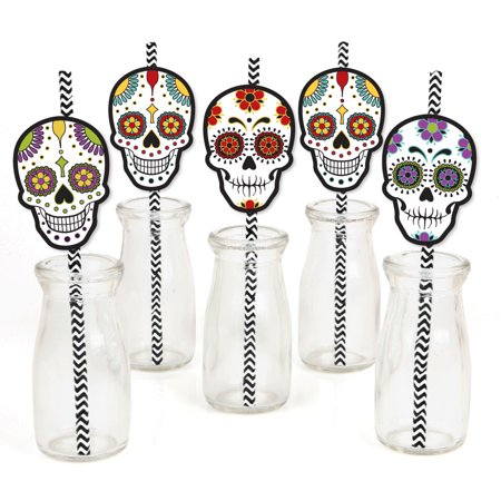 Halloween Paper Straws (Day Of The Dead - Paper Straw Decor - Halloween Sugar Skull Party Striped Decorative Straws - Set of)