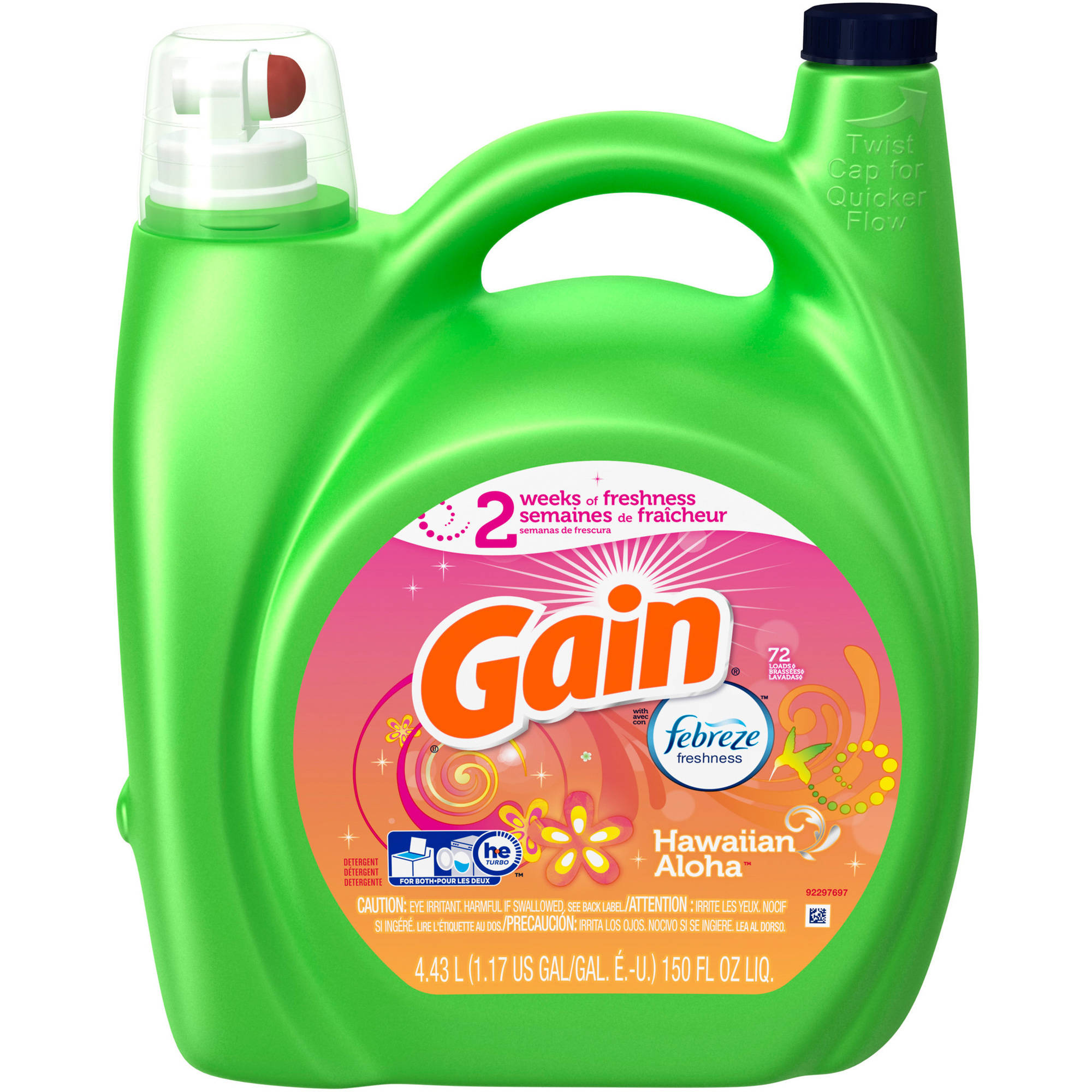 Gain Liquid Laundry Detergent with Febreze Freshness, Hawaiian Aloha Scent, 72 loads, 150 fl oz