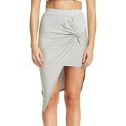 ASTR NEW Gray Women's Large L Front-Knot Asymmetrical Hem Skirt