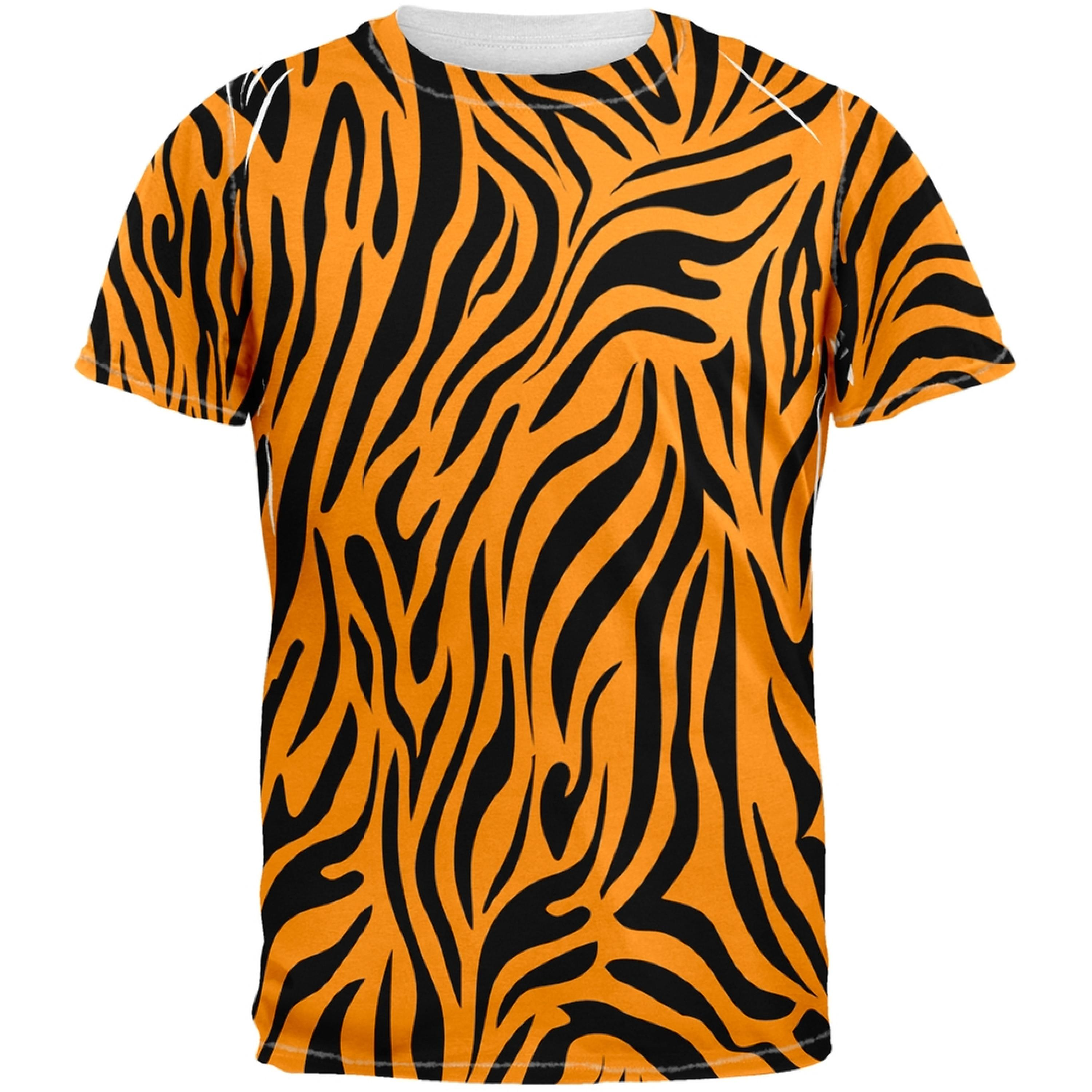 Zebra Print Orange Sublimated Adult T-Shirt