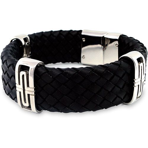 Men's Leather and Stainless Steel Woven Bracelet, 8-1/4""