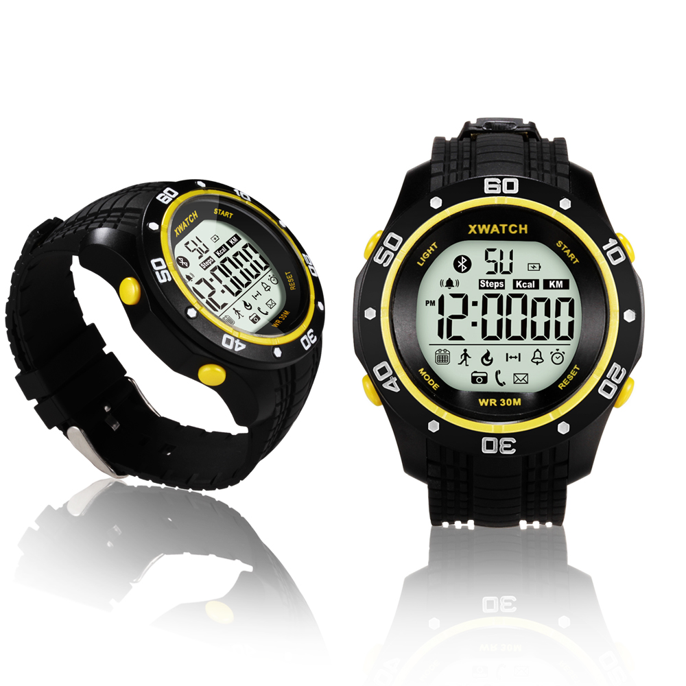 Indigi® Bluetooth 4.0 Sports Waterproof Watch + SMS/Call Notify + Pedometer + Smart Alarm + 1 Year Battery (Yellow)