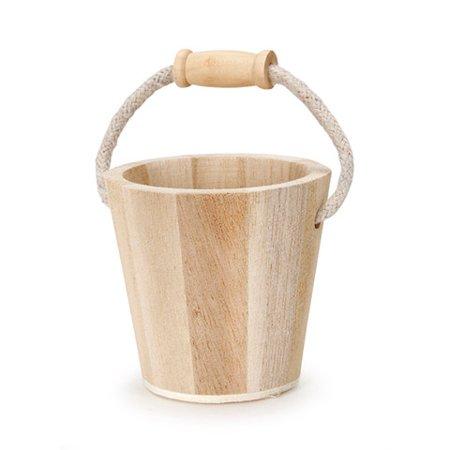 Wood Buckle - Wood Bucket - Rope Handle -