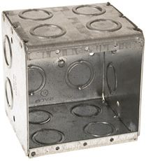 "HUBBELL MASON BOX DOUBLE GANG 4 CONCENTRIC KNOCKOUTS 3-1/2"" DEEP"