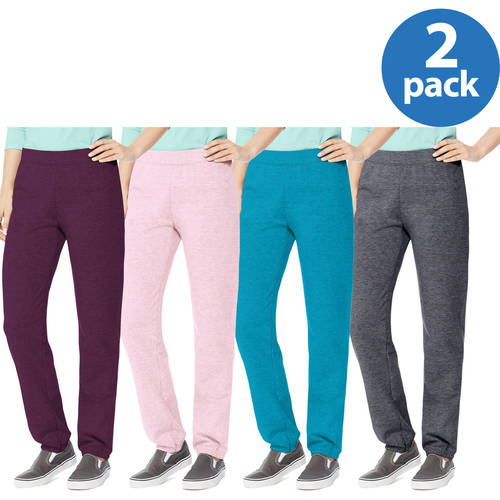 Hanes Women's Essential Cinched Bottom Fleece Sweatpants 2 Pack Value Bundle