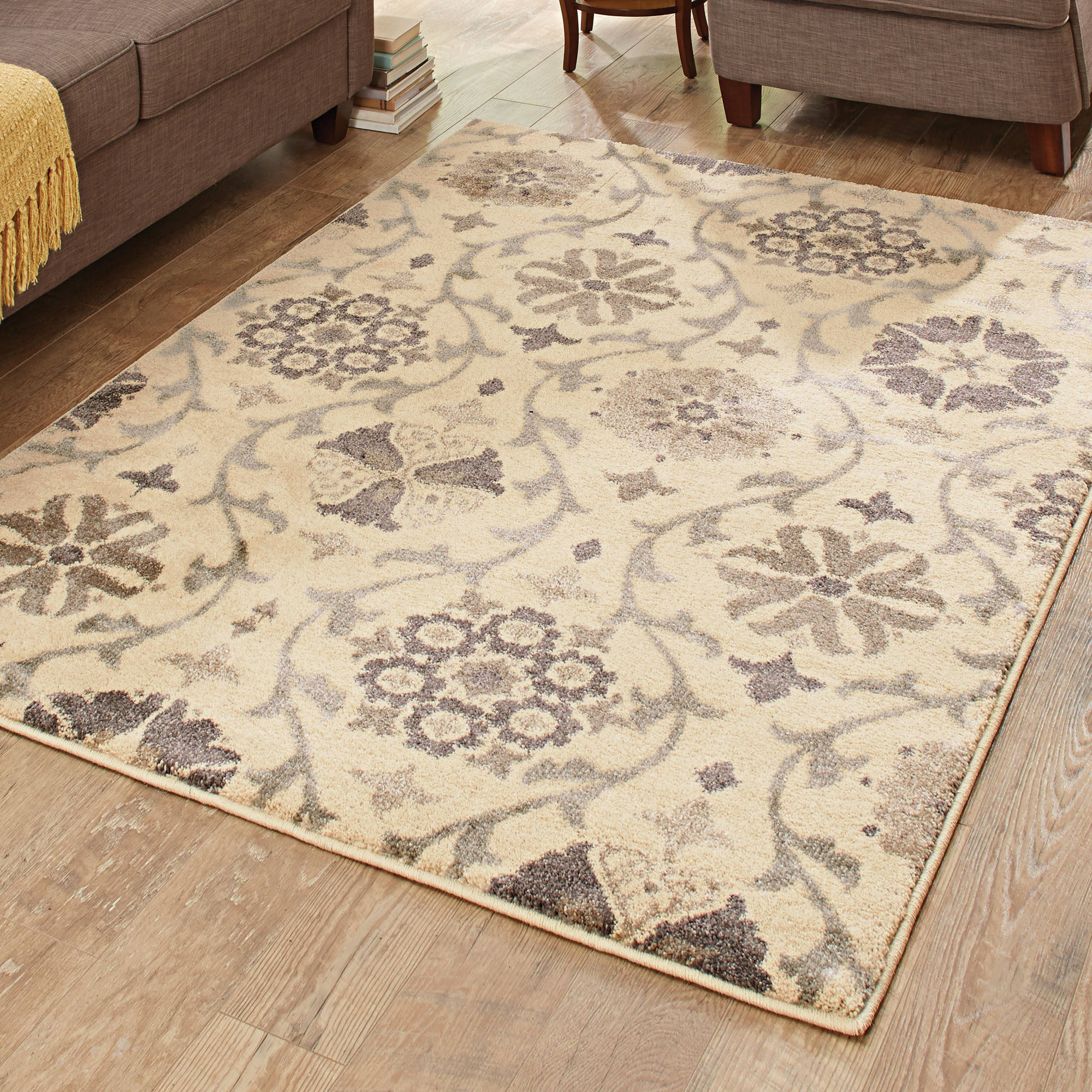 Better Homes And Gardens Cream Floral Vine Area Rug Walmart Com