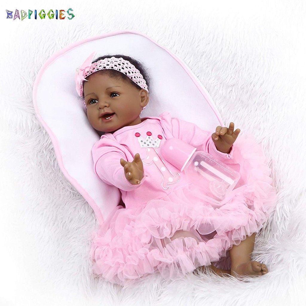 "22/"" Reborn Baby Dolls Lifelike Black African Silicone Vinyl Smile Girl"
