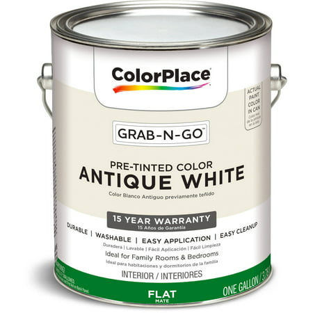 - ColorPlace Pre Mixed Ready To Use, Interior Paint, Antique White, Flat Finish, 1 Gallon