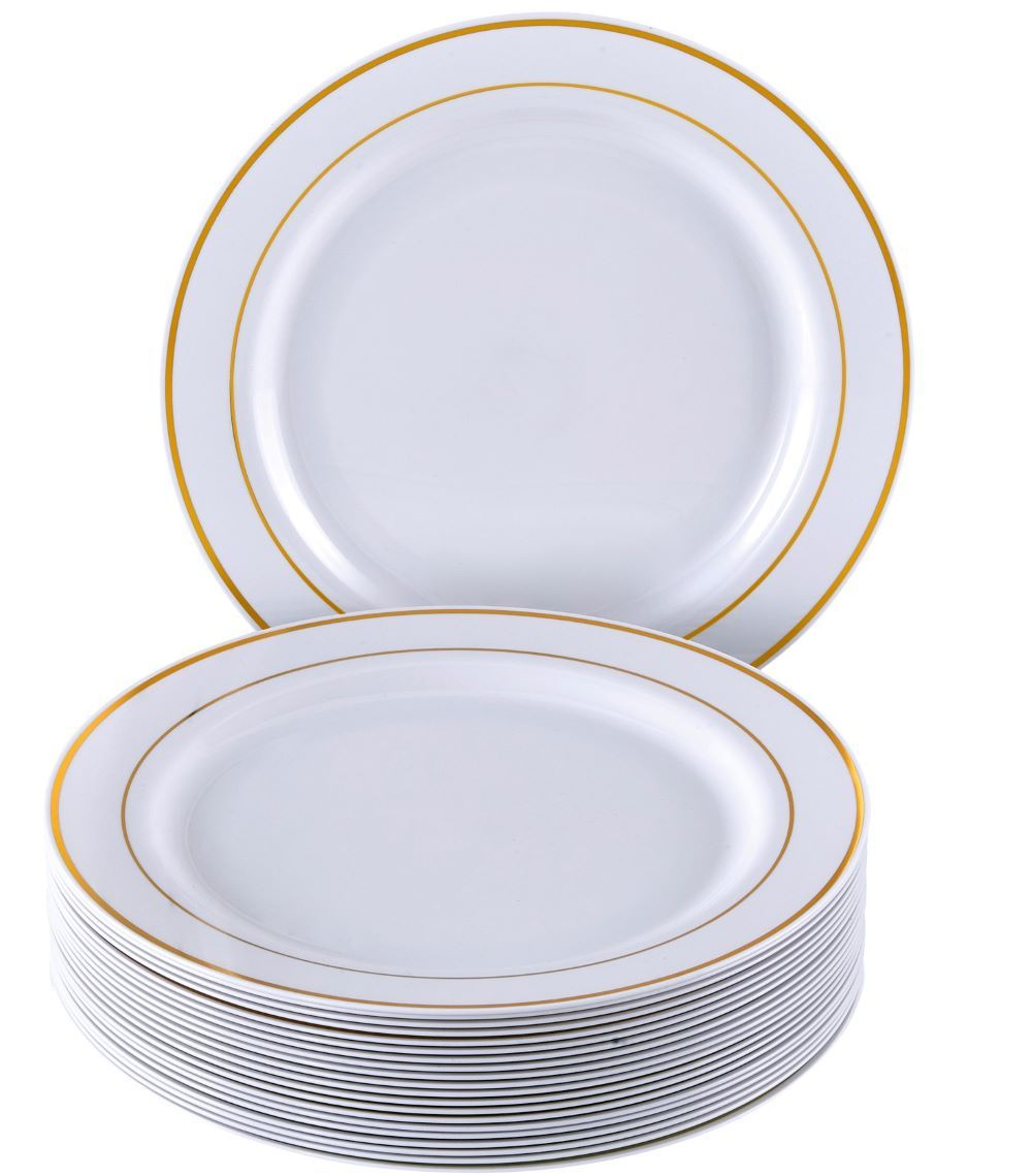 Party Disposable 40 Pc Dinnerware Set  20 Dinner Plates Silver Glare