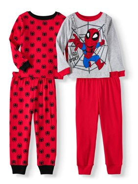 Long sleeve cotton tight fit pajamas, 4-piece set (Toddler Boys)