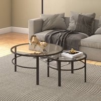Gaia Round Nesting Coffee Tables in Gold Metal and Tempered Glass - 2 Pc Set