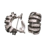 CZ EAR1073 C.Z. AND BLACK RHODIUM PLATED - .925 - STERLING SILVER EARRINGS