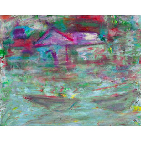 Green Leaf Art Canoes on Bay Painting Print on Wrapped Canvas