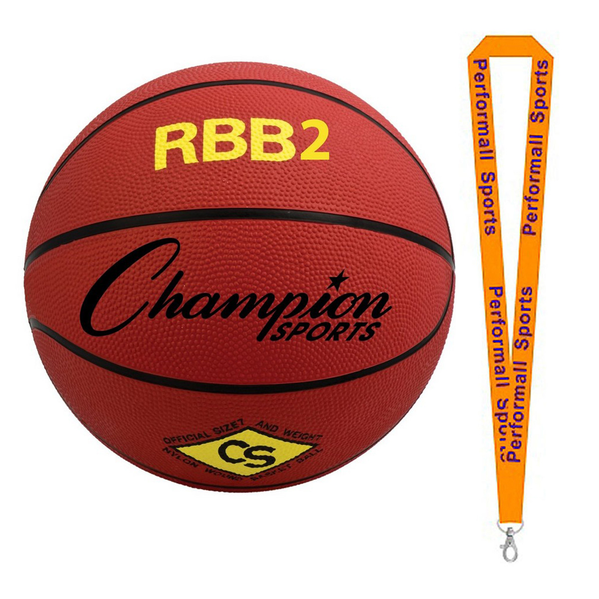 Champion Sports Bundle: Pro Rubber Basketball Red   1 Performall Lanyard RBB2RD-1P
