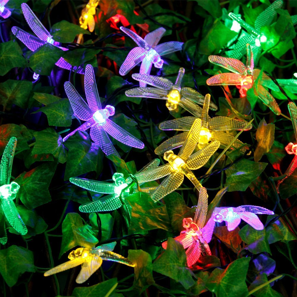 Qedertek Dragonfly Solar String Lights Outdoor, 20ft 30 LED Waterproof Fairy Decoration Lighting for Indoor/Outdoor Patio, Lawn, Garden, Party, Wedding, Seasonal Holiday, and Christmas (Multi Color)