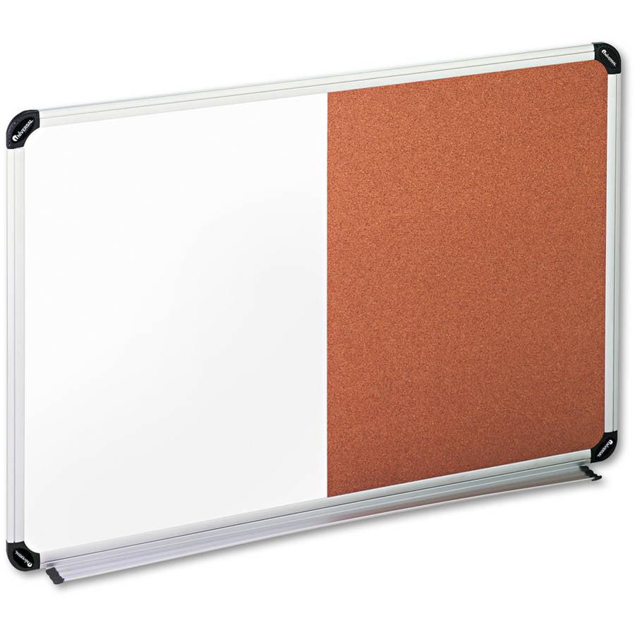 "Universal Cork/Dry Erase Board, Melamine, 36"" x 24"", Black/Gray, Aluminum/Plastic Frame"