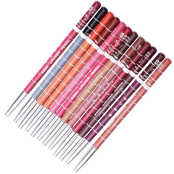 12pcs Women's Professional Makeup Lipliner Waterproof Lip Liner Pencil Set