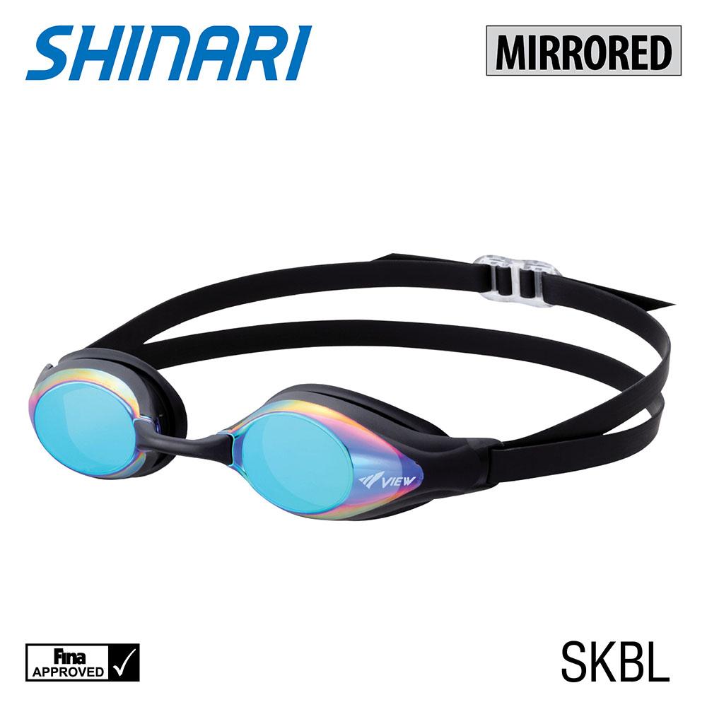 VIEW Swimming Gear Shinari Mirrored Swim Goggle, Smoke/Blue
