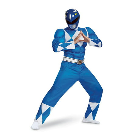 Power Rangers - Mighty Morphin Blue Ranger Classic Muscle Adult Halloween Costume - Mighty Morphin Power Rangers Costumes For Adults