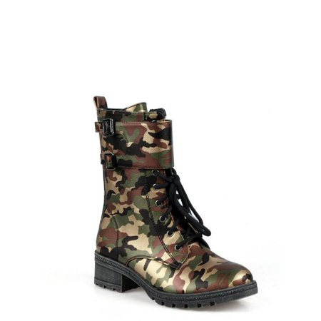 Anthony Wang Lace Up Women's Combat boots in Camouflage thumbnail