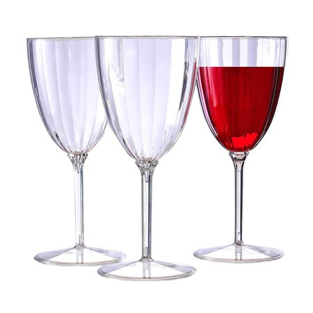 Halloween Plastic Wine Goblets (CLASSIC STEMWARE DISPOSABLE PLASTIC WINE GLASSES | Reusable Wine Cups | for Upscale Wedding and Dining | Includes 12)