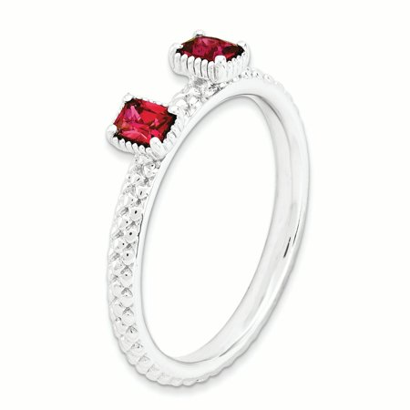 Sterling Silver Stackable Expressions Created Ruby Two Stone Ring Size 6 - image 3 de 3
