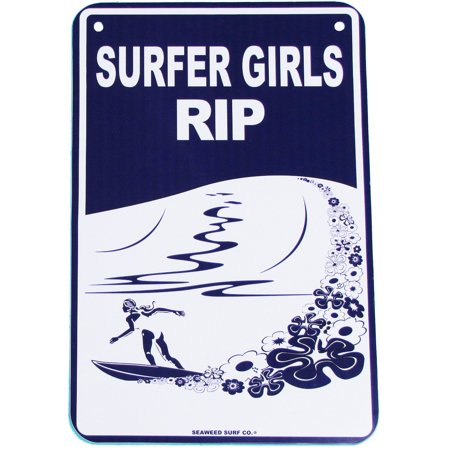 Metal Big Wave Girl Surfing SURFER GIRLS RIP Sign Beach Bar/Surf Shop Wall Decor (Surf Metal)