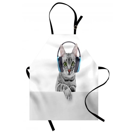 Music Apron Cute Funny Short Hair Cat Listening to Music with Headphones Kitten Animal Art Print, Unisex Kitchen Bib Apron with Adjustable Neck for Cooking Baking Gardening, Grey White, by (Cat Animal Art)