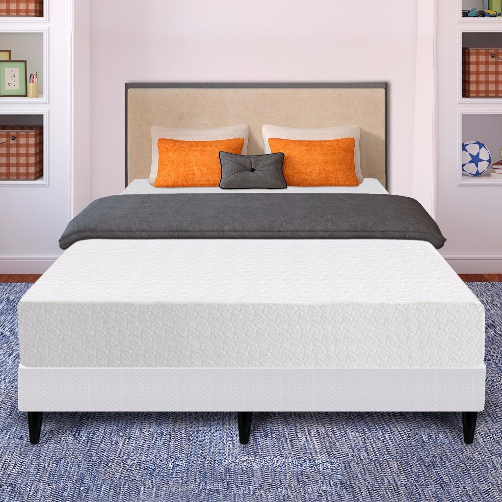 Best Price Mattress 10 Inch Air Flow Memory Foam Mattress and New Innovative Steel Platform Bed Set, Twin