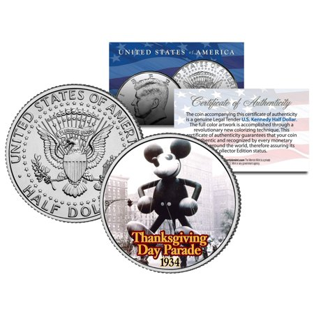 MICKEY MOUSE BALLOON 1934 THANKSGIVING PARADE Colorized Kennedy Half Dollar ()