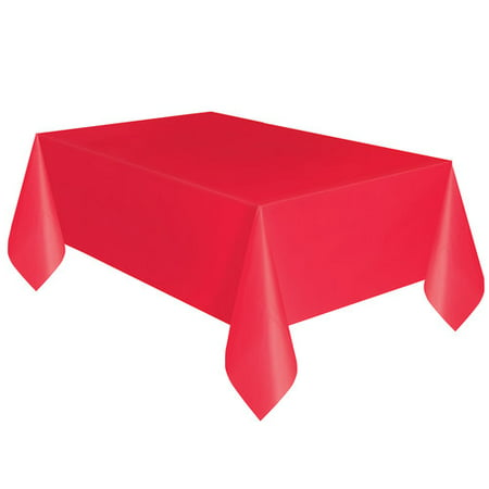 Plastic Tablecloth 108 X 54 In Ravishing Red 3ct