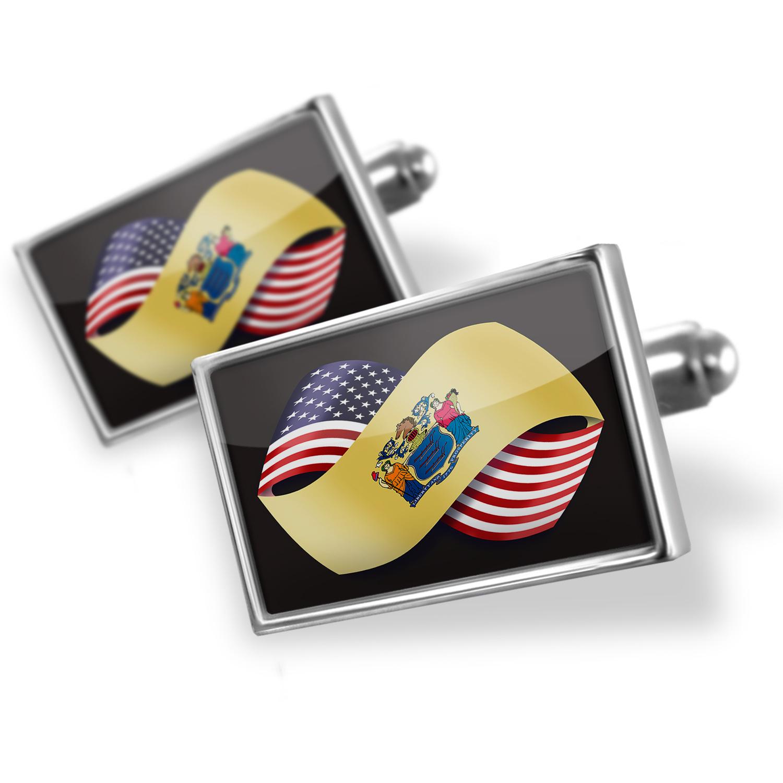 Cufflinks Friendship Flags USA and New Jersey region America (USA) - NEONBLOND
