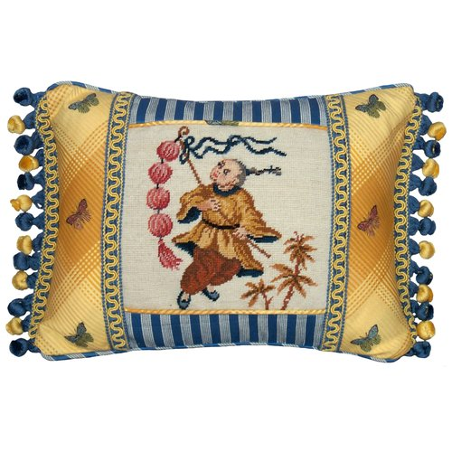 123 Creations Chinoiserie Boy with Lantern Petit Point Wool Lumbar Pillow