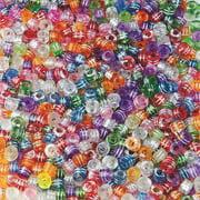 Metallic Striped Pony Beads 1/2lb Bag