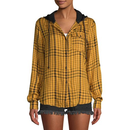 No Boundaries Juniors Plaid Hooded Tie Front Roll Sleeve Blouse by No Boundaries