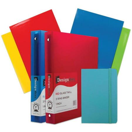Binder Assortment (JAM Paper Back To School Assortments, Blue, Glossy Folders (4), 1 inch Binders (2) & a Blue Journal (1), 7 Items)