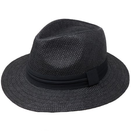 Retailery Unisex Wide Brim Woven Straw Panama Hat With Black Band, Black