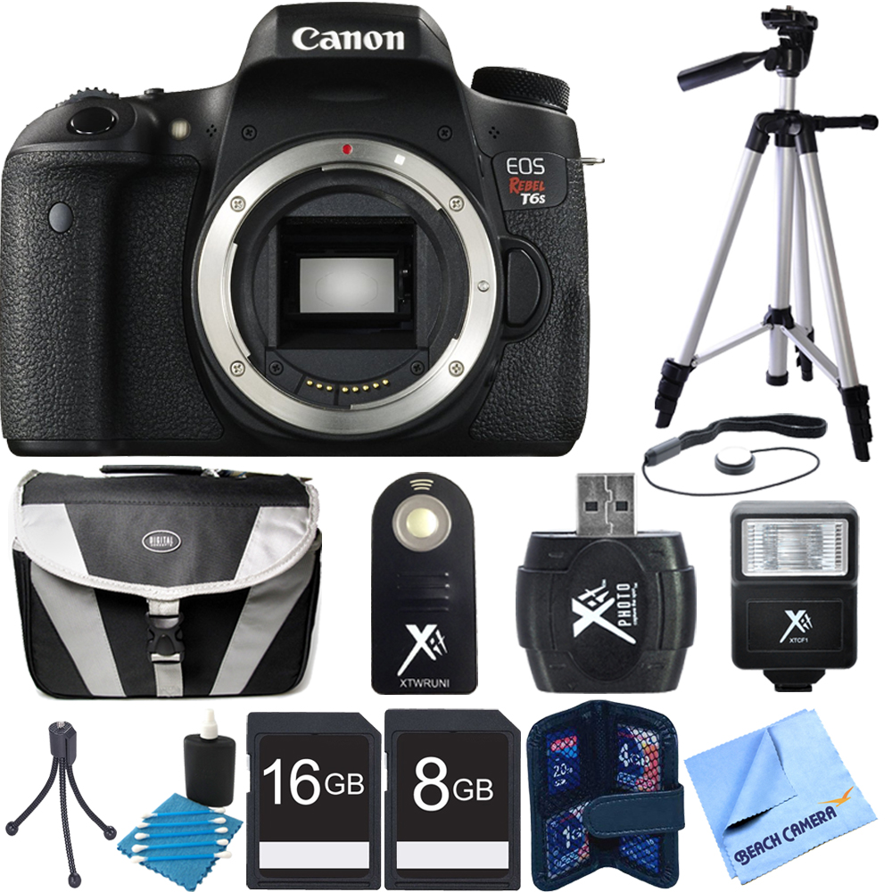 Canon EOS Rebel T6s Digital SLR Camera Body Bundle w/ 16G...