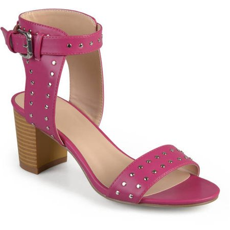Womens Faux Leather Studded Ankle Strap High Heel