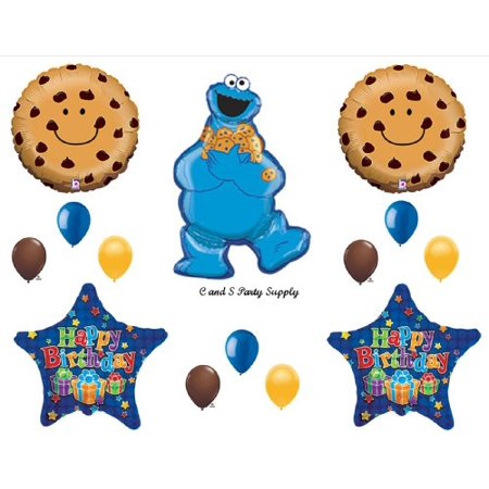 14 pc. Cookie Monster Sesame Street Birthday Party Balloons Decorations Supplies