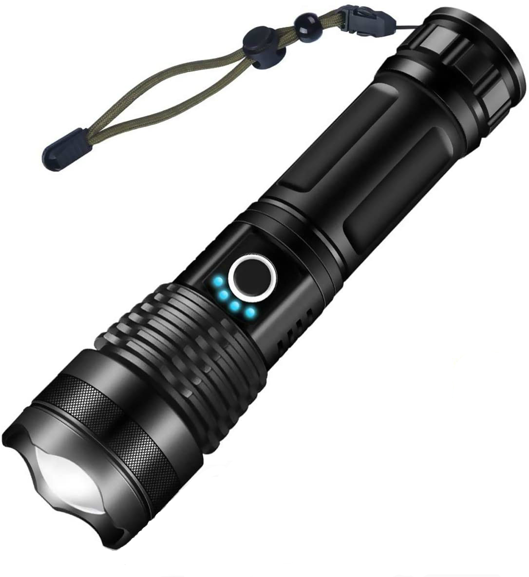 LED Zoom Adjustable Rechargeable USB Flashlight Torch 5 Mode Waterproof Torch