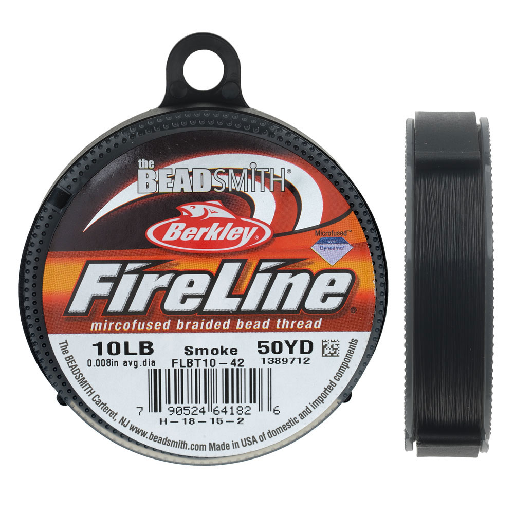 FireLine Braided Beading Thread, 10lb Test and 0.008 Thick, 50 Yards, Smoke Gray